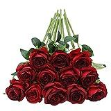 Tifuly 12 PCS Künstliche Rosen, 19,68 '' Single Long Stem Fake Rose Seide Braut Hochzeitsstrauß...