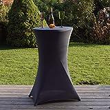 Partytisch mit Husse Bistrotisch Stehtisch Klapptisch Biertisch anthrazit grau Ø 60cm / Höhe...