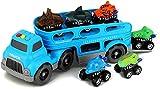 BeebeeRun Dinosaurier Transporter Truck mit 6 Pack Dinosaurier Tier Auto,Spielzeug ab 3 Jahre...