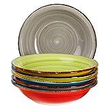 6-TLG. Tellerset Malaga | Bunte Suppenteller tief | 650 ml | Ø 21.5 cm | Salatteller rund |...