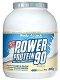 Body Attack Power Protein 90, Vanille, 2 kg, 5K Eiweißpulver mit Whey-Protein, L-Carnitin und BCAA...