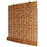 HEWYHAT Verkohlung Bambusrollo, Handgewebte Retro Schatten Reed-Vorhänge, Stroh Jalousien Für...