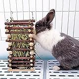 Heuraufe Kaninchen, Natürlichem Apfelholz Stehender Futterautomat, Heu und Futterschüsseln für...