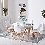 H.J WeDoo Rechteckig Esstisch Buchenholz für 4-6 Stühle Esszimmertisch Küchentisch MDF Weiß 110...
