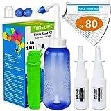 TONELIFE Nasendusche Set 300ml - 80x Nasenspülsalz - 2x Nasensprayer effektiven Nasenreinigung -...