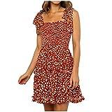 jieGorge  Damen Kleid AusverkaufVerkauf !!! Faltenrock Knielang Kleider Damen ärmelloses Dot Print...