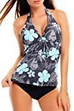 Octopus Trendiger Push Up Tankini/Slip/Neckholder/Bandeau/Cut Out/Verschiedene Prints f3409 Farbe:...