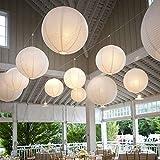 10 Stcke Papierlaterne Laterne Deko Feier Lampions Papierlampen mit 10er Mini LED Lichter (Wei...