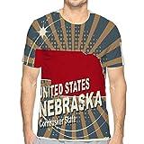 Mens Short Sleeve Tee Quick-Dry Crewneck Athletic T-Shirts Abstract Label Name map Nebraska