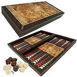 PrimoLiving P-815 Deluxe Holz Backgammon Set Globe im XXL Format 50x50 cm, braun