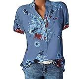 Lulupi Damen Bluse Kurzarm V-Ausschnitt Hemdbluse Sommer Shirt Blumen Knopfleiste Tunika Tops...