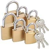 com-four 6X Vorhängeschloss aus massivem Metall - Vorhangschloss mit Schlüssel und verschiedenen...