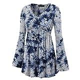 Shirt Damen elegant Retro bedrucktes V-Ausschnitt Langarmshirt Übergroß Tops Frühling und Herbst...