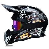 Fengcheng Motocross-Helm, Profi-Set, Motorradhelm für Erwachsene, Off-Road Cross Road Race...