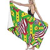 NA 52x32 Zoll Badetücher Sao Tome und Principe Flag mit America Flag Mehrzweck-Badetuch Übergroße...