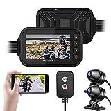BaiTTang Motorrad Kamera Dash CAM - WiFi-Version, 3 '' IPS-Bildschirm und 1080p + 720p...