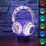 3D Dj Kopfhörer Illlusion Lampe Studio Monitor Headset HiFi Musik Kopfhörer 3D Nachtlicht Farbe...