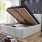 Polsterbett Bett mit Bettkasten 180x200 Weiß XXL Nelly Lattenrost Doppelbett Kunstleder