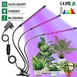 Chefic Pflanzenlampe 30W, 60 LEDs Einstellbar Pflanzenlicht IP55 Wasserdicht Vollspektrum, mit...