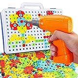 AimdonR 3D Puzzle Mosaik Spiel, Kinder Bohrmaschine Schraube mit Bohrmaschine Pädagogisch Kreativ...