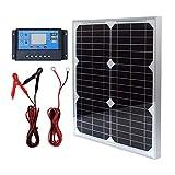 20W 12V Monokristallines Solarmodul Solarpanel Solarzelle Kit mit 10A Solarladegerät Laderegler...