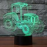 Traktor Hologramm 3d Lampe Nachttischlampe, Nachtlicht fürs Kinderzimmer, LED Lampe fürs...