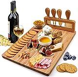 Käsebrett aus Bambus Und Messerset, Käsebrett Schneidebrett Das Fleisch & Käseplatte Mit 4...