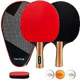 heinsa Tischtennis Set, Tischtennisschlaeger Set - 2 Tischtennisschläger Set mit Tischtennis-Bälle...