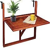 Deuba Balkonhängetisch Klappbar FSC®-zertifiziertes Akazienholz Hängend 64 x 45 cm Balkontisch...