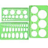 Lineale mit Kreisschablonen - 3 Stück, Kunststoff,  kreisförmige und ovale Schablonen,...