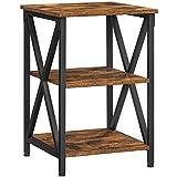 VASAGLE Beistelltisch, Nachttisch, X-förmige Streben, Stahlgestell, mit 3 Ebenen, Industrie-Design,...