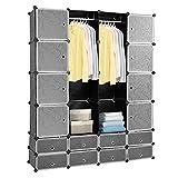 Hengda 16 Würfel DIY Regalsystem Kleiderschrank Offen Kunststoff Garderobe mit Türen...