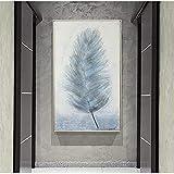 Geiqianjiumai Abstrakte Moderne Blaue Feder leinwand malerei Dekoration malerei lgemlde rahmenlose...