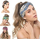 Osattia 4 Stck Damen Boho Stirnband Elastisches Haarband Bhmisches Blume Gedruckt Stirnbnder Knoten...