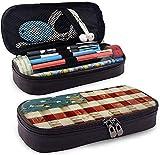US Flag American Flag PU Leather Pencil Case Waterproof Makeup Bag