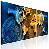 decomonkey Bilder Weltkarte 200x80 cm 5 Teilig Leinwandbilder Bild auf Leinwand Vlies Wandbild...