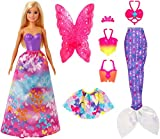 Barbie GJK40 - Dreamtopia 3-in-1 Fantasie Spielset, Puppe (blond) mit 3 Outfits und Zubehör: Fee,...