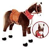 KNORRTOYS.COM Groes XXL Standpferd Liana mit Sattel Braun Pferd Stehpferd Reitpferd Reiten