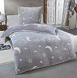 Kuscheli® Teddy Plüsch Bettwäsche 135x200, Sterne Kinder-Bettwäsche die im Dunkeln leuchtet...