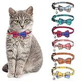 Veraing 6 Stück Katzenhalsband mit Schleife Krawatte und Glöckchen, Katzenhalsbänder mit...
