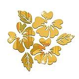 FeiyanfyQ Wandaufkleber aus Acryl, Motiv Blumen und Blätter, für Wohnzimmer, Acryl, goldfarben,...
