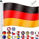 FLAGMASTER Aluminium Fahnenmast 6,5m + Flagge, 5fach höhenverstellbar, 3 Jahre Garantie, 18...