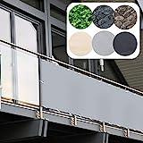 Balkon Sichtschutz PVC | 90x600 cm | Extra Blickdicht | Balkonverkleidung aus wetterfestem...