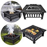 LZQ 3 in 1 Feuerstelle mit Grillrost Multifunktional Quadratisch Fire Pit für Heizung/BBQ mit...