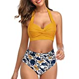 KaloryWee Damen Bikini Set Zweiteiler Badeanzug Push-Up Halter Geraffte Hohe Taille Print Bandage...