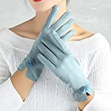 cookin P-om P-om dekorative Handschuhe für Damen mit T-Touch-Screen für Zeigefinger, einfarbige...