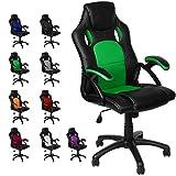 Gamer Stuhl Gaming Schreibtischstuhl Chefsessel Bürostuhl Ergonomisch, Grün, 9 Farbvarianten,...