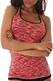 Jela London Damen Fitness-Top Träger Stretch eng figurbetont Tanktop Jogging Sportswear (DE 32 34...