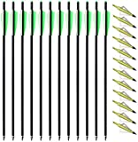IRQ 12 Stück 20 Zoll Kohlenstoff Armbrustpfeile Armbrustbolzen mit 4-Zoll-Flügeln und 12 Stück...