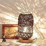 Sundos Moderne Nachttischlampe aus Bambus und Rattan, moderne kreative Holzsockel,USB-Buchse...